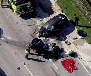 Aparatoso accidente entre tres vehículos deja dos heridos en Miami Gardens