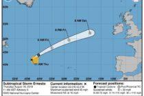 Tormenta subtropical Ernesto se convertirá en postropical el viernes