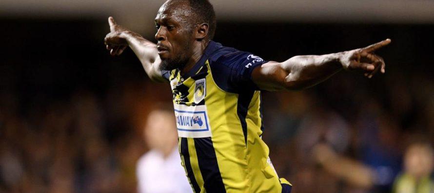 Usain Bolt se estrenó como goleador en Australia