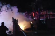 Dos heridos tras choque de vehículo que se incendió
