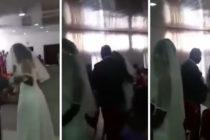Mujer arruinó la boda de su amante al presentarse vestida de novia (Video)