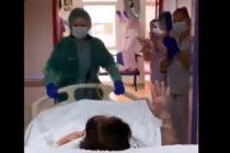 ¡Conmovedor! Personal médico de hospital español aplaude a la primera paciente de Covid-19 que abandonó los cuidados intensivos +Vídeo