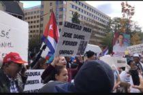 Exiliados protestaron en la embajada de Cuba en Washington por la libertad de los presos políticos