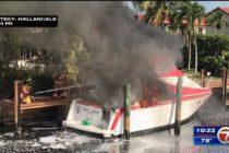 Bombero resultó herido tras incendio de embarcación en Hallandale Beach