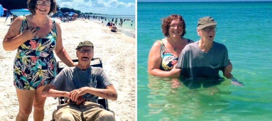 ¡Increíble! Abuelo de 93 años de Florida va por primera vez a nadar en la playa