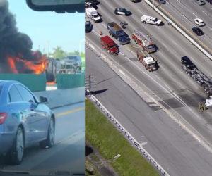 Camión en llamas causó retrasos en la I-95 cerca de Oakland Park Blvd