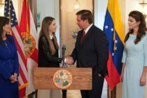 Gobernador de Florida, Ron De Sanits, se reunión con esposa de Guaidó