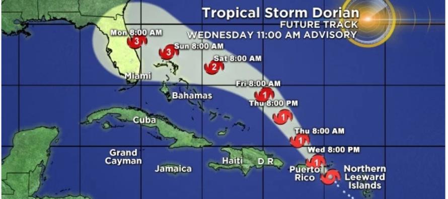 Dorian se fortalece y podría llegar a Florida como huracán categoría 3