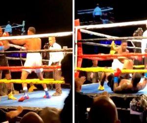 Boxeadores caen simultáneamente a la lona tras realizar un «Nocaut doble» (VIDEO)