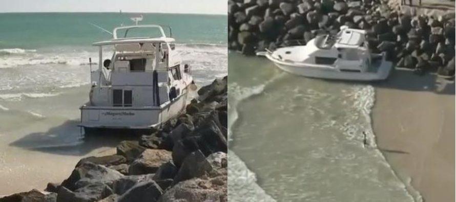 ¡Sorprendió a bañistas! Yate encalló en Miami Beach