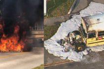 Homenajean a conductora que salvó niños en incendio de transporte escolar
