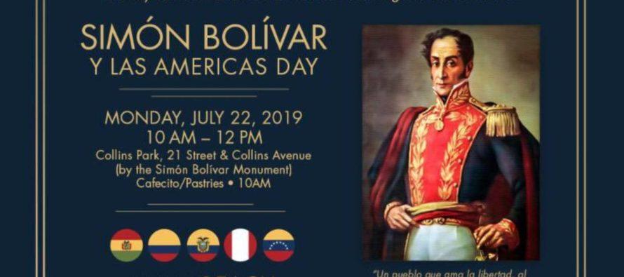 Miami Beach decretó el 22 de julio Día de Simón Bolívar y las Américas