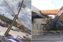 Grúa móvil se desplomó sobre un almacén en Hialeah (VIDEO)