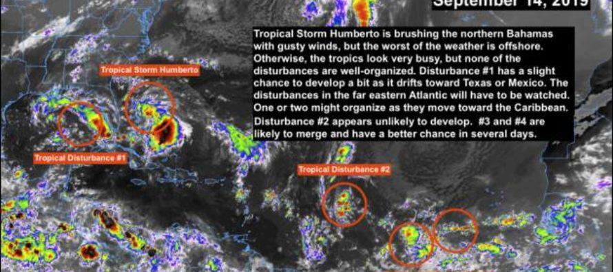 4 sistemas tropicales se alinean en el Atlántico, 1 en el Golfo de México