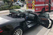 Hombre murió tras estrellar su Mercedes contra un montacargas en Fort Lauderdale Beach