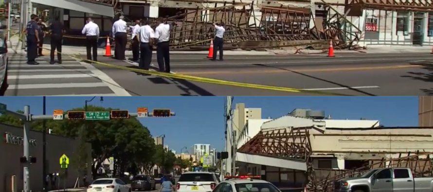 Mujer resultó herida tras desplomarse techo de restaurante en la Pequeña Habana