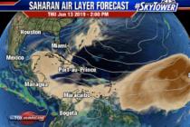 Miami pudiera librarse de una gran nube de polvo del Sahara gracias a las tormentas del fin de semana
