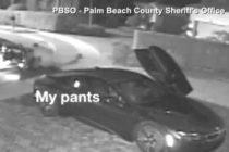 Cámara capta el momento en que un hombre en Florida intenta robar un vehículo y sus pantalones se le caen